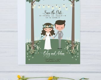Illustrated Save the Date Magnet | Boho Wedding Save the Date | Hand Drawn Invitation for Wedding | Cartoon Couple | Rustic Wedding Set