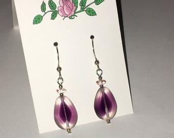 Sterling Silver purple ombre crystal flat teardrop .925 fishhook earrings