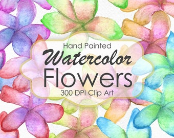 Watercolor Tropical Flowers, Flowers Clipart, Hand Painted watercolor, Watercolor clipart, Digital Scrapbook - INSTANT DOWNLOAD