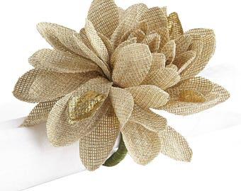 Set of 8 Burlap Flower Napkin Rings