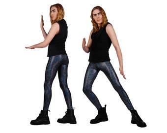 Men's Holographic Black Leggings, Meggings, Burning Man Clothing, Glam Rock, Stage Wear, Spandex Pants, Menswear, Dance Wear, by LENA QUIST