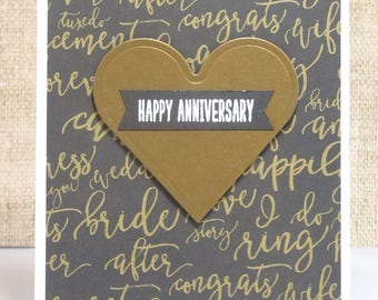 Happy Anniversary Card- Anniversary Card- Love Cards- Anniversaries- Gold Anniversary