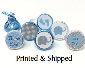 324 Baby Shower Stickers for Candy Kiss® - Blue & Grey Polka Dots Elephant Blue Grey Labels for Chocolate Kisses
