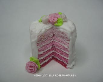 White Iced Pink Sponge Cake 12th scale miniature