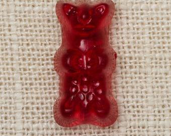 Red Gummy Bear Brooch Vintage Novelty Broach Vtg Pin 7T