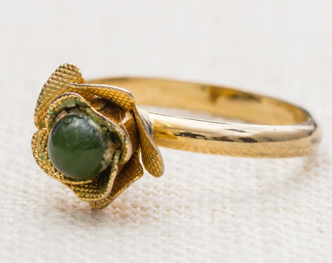 Green Flower Vintage Ring Gold Metal Adjustable 7RI