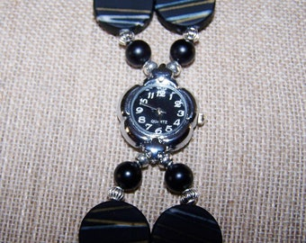 Watch, beaded black acrylic watch, quartz watch with earrings