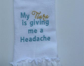 Funny Hand Towel, custom, made in the USA, guest towel, hostess gift, wedding shower, teacher gift, house warming gift, custom saying