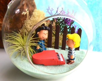 Peanuts Characters Terrarium Kit - Medium Air Plant Terrarium Kit ~ Home Decor ~Charley Brown Figures ~ Lucy and Schroder with Piano ~ Gift