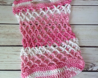 Pink Reusable Market Bag, Reusable Grocery Bag, Cotton Market Bag, Produce Bag, Crochet Bag, Beach Bag, Summer Tote