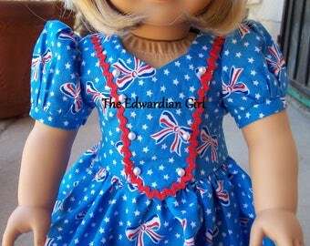 OOAK 1930s, 1940s red, white, blue, patriotic print dress for 18 inch play dolls such as American Girl, Springfield, OG. Made in USA