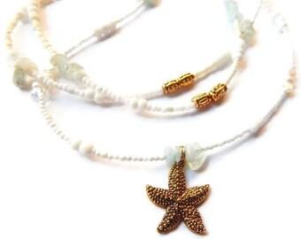 Yemaya Aquamarine Waist Beads, Blue Sea Goddess Waist Beads, Wellness, Courage Waist Beads, African Waist Beads, Tribal Orisha Waist Beads,