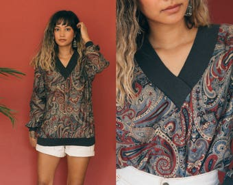 Retro Paisley Long Sleeve Shirt / 80s V-Neck Pullover Sweatshirt / Ribbed All Over Print Blouse Psychedelic Abstract Slouchy Top 90s Grunge