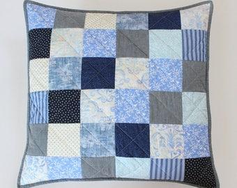 Farmhouse Pillows, Patchwork Pillow, Blue White Pillow, Quilted Pillow