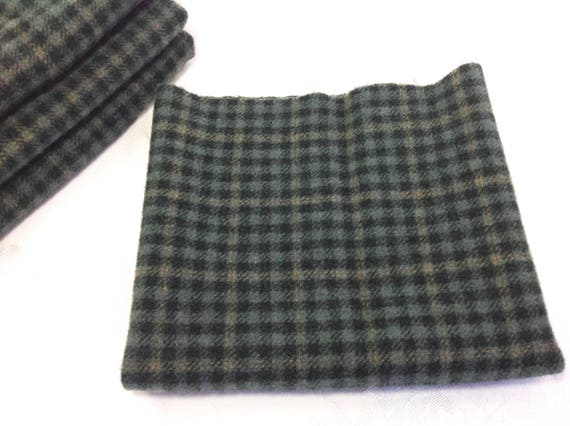 Fat 1/4 Yard, Checkmate Green, Mill Dyed Wool Fabric for Rug Hooking and Applique and Crafts, W436, Shades of Blue Green Check