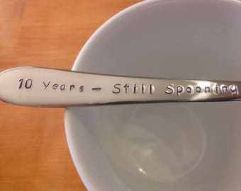 Still Spooning Anniversary Gift,Personalized Spoon,Custom Made, Hand Stamped Spoon x1,Custom spoons,tea spoon,parfait spoon
