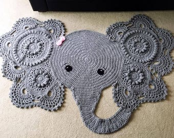 Elephant Rug | Crochet Rug | Crochet Elephant Rug | Lacy Elephant Rug