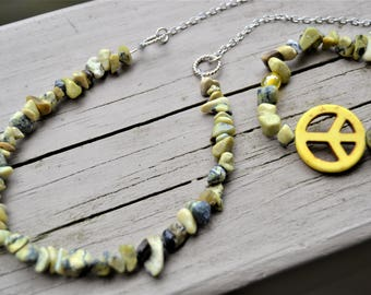 YELLOW PEACE SIGN Necklace Bracelet Set Yellow and Grey Magnesite Stone Peace Bracelet Hippie Jewelry