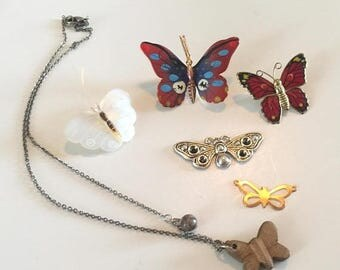 SUMMER SALE Destash Craft Lot of Vintage Butterfly  Jewelry Pieces for Assemblage