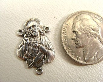 Religious Medal. vintage Radiant Sacred Heart of Jesus. Sterling Silver. Rosary Center Medal. with Mary and Infant Jesus. catholic medal