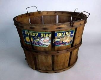 Vintage Split Wood Basket, Orchard Basket, Farm Market Basket, Bushel Basket, Gathering Basket