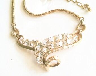 Necklace Clear Rhinestones Gold Tone Setting Bib Choker Vintage Wedding Jewelry Jewellery Accessories Gift Guide Women