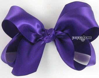 """Girls Hair Bow - 4 Inch Satin Hair Bow - Dark Purple hair bow - toddler hair bow - baby girls hairbow - big hair bow 4"""" boutique bows silk"""