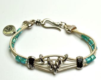 White Leather Bracelet Turquoise Glass Beads Silver Sliders and Clasp