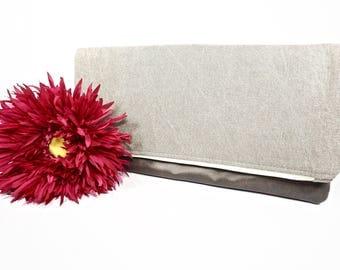 Fold Over Clutch | Beige Neutral Denim Everyday Clutch | Wedding Clutch | Evening Clutch Purse | Leather Zipper Clutch | Bridesmaid Clutch