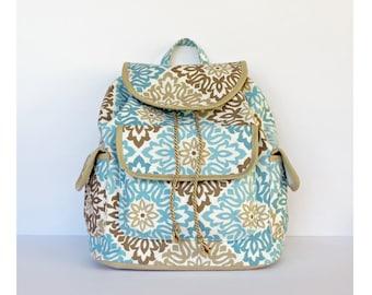 Blue and Brown Mandala Backpack