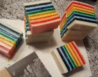 rainbow sparkle party handmade soap