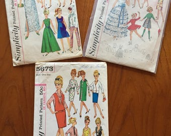 Vintage Doll Patterns for Barbie, Tammy and Other Teen Dolls, 1960's, Simplicity Patterns, Uncut and Cut
