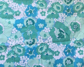 Vintage 60s 70s Turquoise and Green Flower Power Dorma Flat Single Sheet, craft project