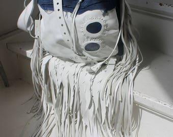 RESERVED     White and  denim fringe bohemian hobo