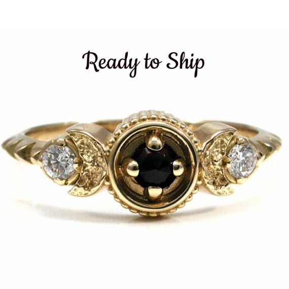 Ready to Ship Size 5 - 7 Crescent Moon, Rose Cut Garnet and Diamond Moon Phase Ring - 18k Yellow Gold