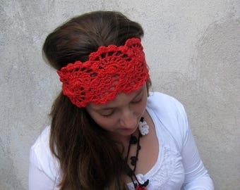 ON SALE 15 % SALE Crochet Headband- Crochet Lace Hair Accessories - Hand Crochet Hairband - Fashion Bandana