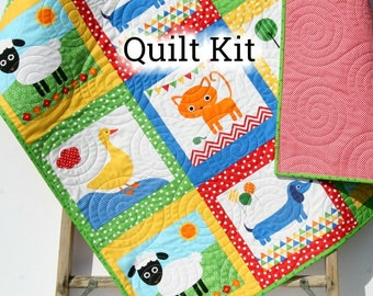 Quilt Kit Gender Neutral Remix Zoologie Dogs Cats Dachshund Fox Boy Girl Animals Anne Kelle Cheater Panel Baby Blanket Project Toddler Size