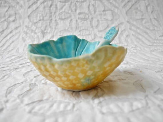 Salt Bowl and spoon, Turquoise bowl spoon, Prep bowl, little bowl, Pinch Pot, small bowl, foodie gift, salt cellar, sauce bowl, ocean bowl