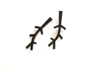 Black Light Plywood Branch earrings