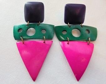 Vintage Wood Earrings Dangle Large Chunky POP ART Wooden Green Pink Neon Retro Pierced Funky Art Deco Statement