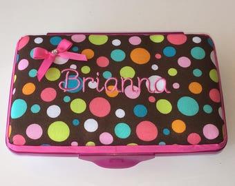 Personalized Kids School Pencil Box Case Multi Color Dots
