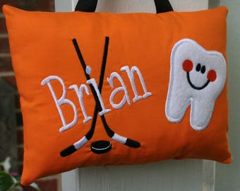 Tooth Fairy Pillow for Boys - Personalized - Hockey