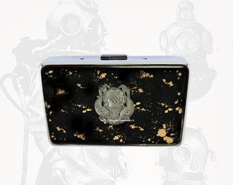 Deep Sea Diver Helmet RFID Metal Wallet Inlaid in Hand Painted Black Enamel with Gold Splash Credit Card Case Personalized and Color Options