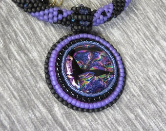 Necklace Crocheted Beaded Majestic with Purple Dichroic Pendant