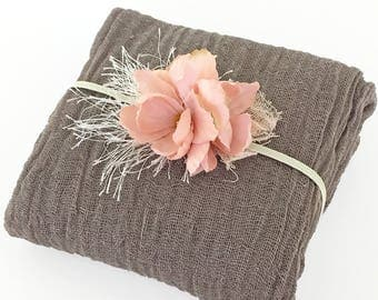 Reserved for Kristy Westrom - Latte Cheesecloth Wrap with Dusty Pink Silk Flower Headband for Newborn Photo Prop Neutral Brown and Pink