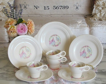 Darling Nine Piece TEA SET With FRENCH Couple, Salem China, Minuet Pattern, French Style, Marie Antoinette