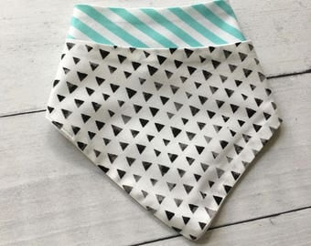 FREE US SHIPPING Bandana Bibs (set of 2) Great Gender Neutral Set in Black Watercolor Triangles and Aqua Stripes