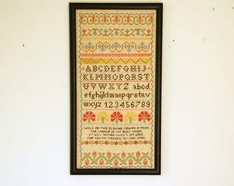Sampler Cross Stitch, Needlework Sampler, Vintage Motto, Cottage Wall Decor, Framed Wall Art, Black Wood Frame