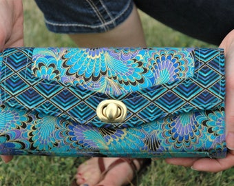 Elegant Turquoise Peacock Motif Colored Wallet, Clutch, Rectangular,  12 Ccard Slot Pockets, Zipper Change Pocket, Sturdy Construction,