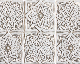 Outdoor Wall Art With Moroccan Design, SET OF 6 TILES, Garden Art,Ceramic